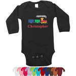 Trains Long Sleeves Bodysuit - 12 Colors (Personalized)