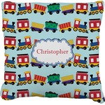 Trains Faux-Linen Throw Pillow (Personalized)
