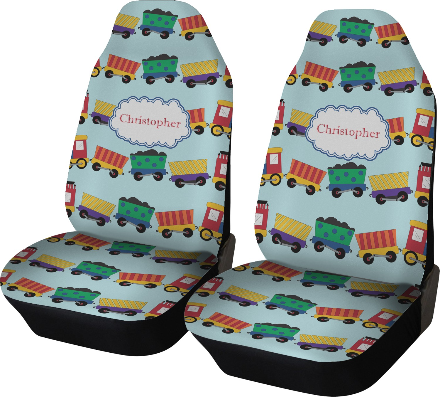 Trains Car Seat Covers Set Of Two Personalized