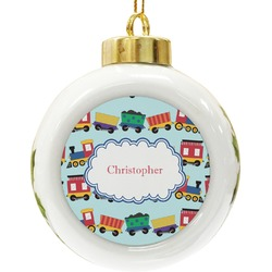 Trains Ceramic Ball Ornament (Personalized)