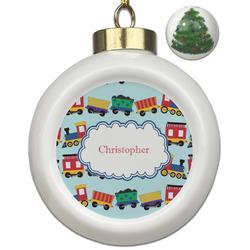 Trains Ceramic Ball Ornament - Christmas Tree (Personalized)
