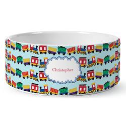 Trains Ceramic Pet Bowl (Personalized)