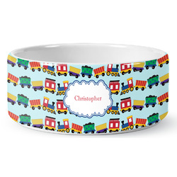 Trains Ceramic Pet Bowl (Personalized)
