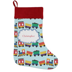 Trains Holiday Stocking w/ Name or Text