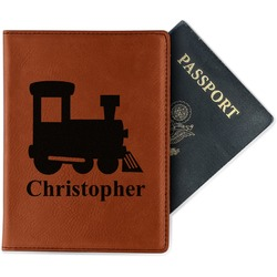 Trains Leatherette Passport Holder (Personalized)