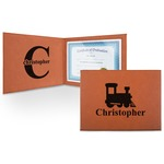 Trains Leatherette Certificate Holder (Personalized)