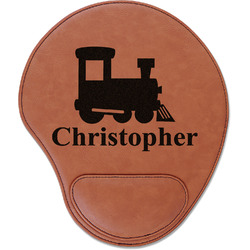 Trains Leatherette Mouse Pad with Wrist Support (Personalized)