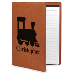 Trains Leatherette Portfolio with Notepad - Large - Single Sided (Personalized)