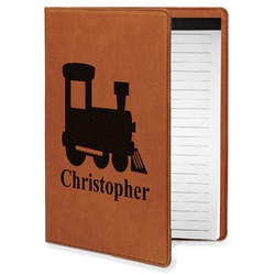 Trains Leatherette Portfolio with Notepad - Small - Single Sided (Personalized)