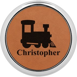 Trains Leatherette Round Coaster w/ Silver Edge - Single or Set (Personalized)
