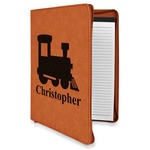 Trains Leatherette Zipper Portfolio with Notepad (Personalized)