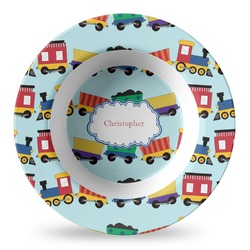 Trains Plastic Bowl - Microwave Safe - Composite Polymer (Personalized)