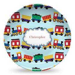 Trains Microwave Safe Plastic Plate - Composite Polymer (Personalized)