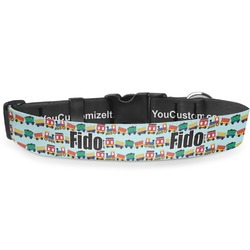 "Trains Deluxe Dog Collar - Large (13"" to 21"") (Personalized)"