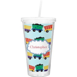 Trains Double Wall Tumbler with Straw (Personalized)