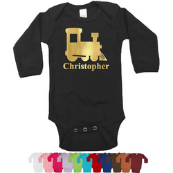 Trains Foil Bodysuit - Long Sleeves - 6-12 months - Gold, Silver or Rose Gold (Personalized)