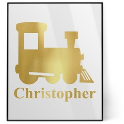 Trains 8x10 Foil Wall Art - White (Personalized)