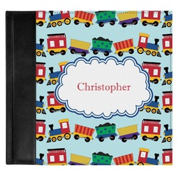 Trains Genuine Leather Baby Memory Book (Personalized)
