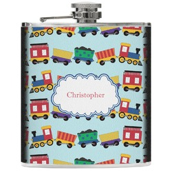Trains Genuine Leather Flask (Personalized)