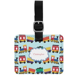 Trains Genuine Leather Rectangular  Luggage Tag (Personalized)