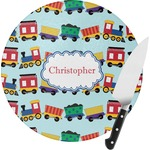 Trains Round Glass Cutting Board (Personalized)