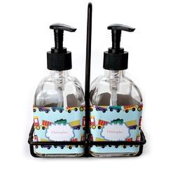 Trains Soap & Lotion Dispenser Set (Glass) (Personalized)