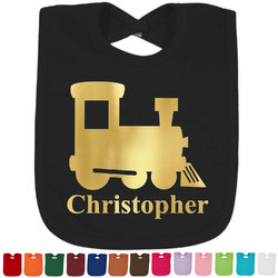 Trains Foil Baby Bibs (Select Foil Color) (Personalized)