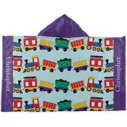 Trains Kids Hooded Towel (Personalized)