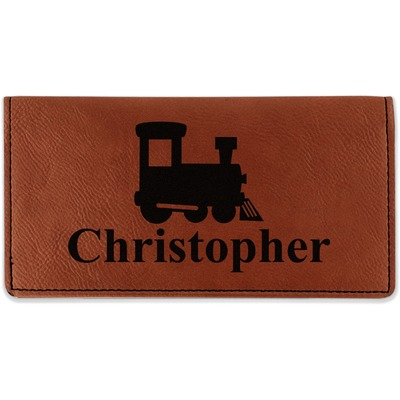 Trains Leatherette Checkbook Holder (Personalized)