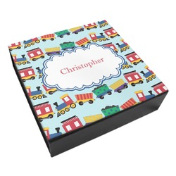 Trains Leatherette Keepsake Box - 8x8 (Personalized)