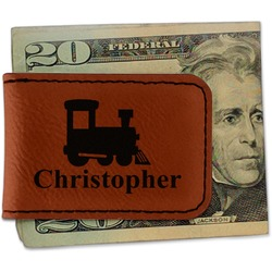 Trains Leatherette Magnetic Money Clip (Personalized)
