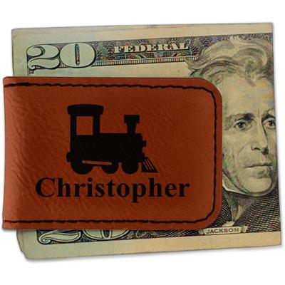 Trains Leatherette Magnetic Money Clip (Personalized)