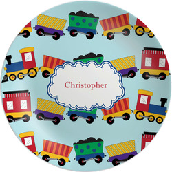 "Trains Melamine Plate - 8"" (Personalized)"