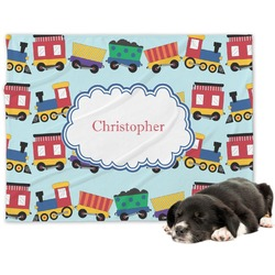 Trains Minky Dog Blanket (Personalized)