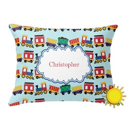 Trains Outdoor Throw Pillow (Rectangular) (Personalized)