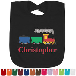 Trains Baby Bib - 14 Bib Colors (Personalized)