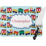 Trains Rectangular Glass Cutting Board (Personalized)