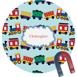 Trains Round Magnet (Personalized)