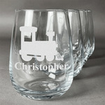 Trains Stemless Wine Glasses (Set of 4) (Personalized)