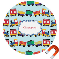 Trains Round Car Magnet (Personalized)