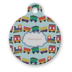 Trains Round Pet ID Tag (Personalized)
