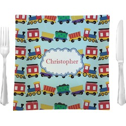 "Trains Glass Square Lunch / Dinner Plate 9.5"" - Single or Set of 4 (Personalized)"