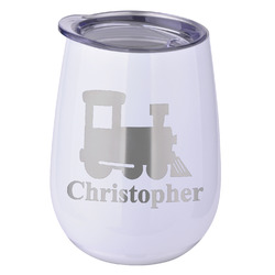 Trains Stemless Wine Tumbler - 5 Color Choices - Stainless Steel  (Personalized)
