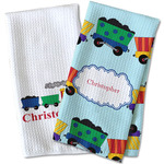 Trains Waffle Weave Kitchen Towel (Personalized)