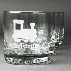 Trains Whiskey Glasses (Set of 4) (Personalized)