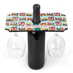 Trains Wine Bottle & Glass Holder (Personalized)