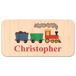 Trains Genuine Maple or Cherry Wood Sticker (Personalized)
