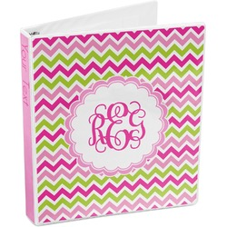 Pink & Green Chevron 3-Ring Binder (Personalized)