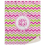 Pink & Green Chevron Sherpa Throw Blanket (Personalized)