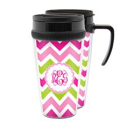 Pink & Green Chevron Acrylic Travel Mugs (Personalized)
